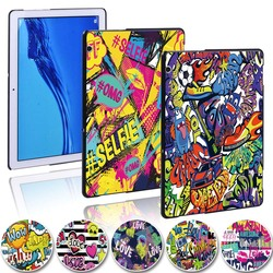 Graffiti Art tablette mince coque rigide housse pour Huawei MediaPad T5 10 10.1 pouces/MediaPad T3 8.0/MediaPad T3 10 9.6 + stylet