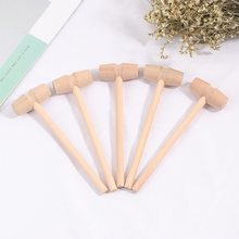 5 pçs madeira mini martelo bater planeta bolo martelo de madeira crianças plana brinquedo mallet ponto