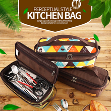 Outdoor Camping Hiking Picnic Bag Camping Portable Food Storage Bag Wild Picnic Tableware Outdoor Cookware Set Pot Gas Tank Anti brs outdoor high strength energy warehouse polycarbonate picnic camping travel power gas tank unit bin hot sale accessory