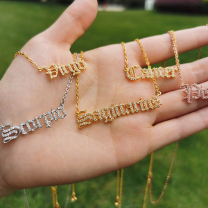 Creativity European Zircon Necklace Jewelry Girls 12 Constellation Zodiac Crystal English Letter Alphabet Necklace For Women BFF