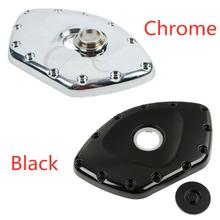 цена на Motorcycle Black/Chrome Front Timing Chain Cover W/ Screw-in Cap For Honda Goldwing GL1800 2001-2013 05
