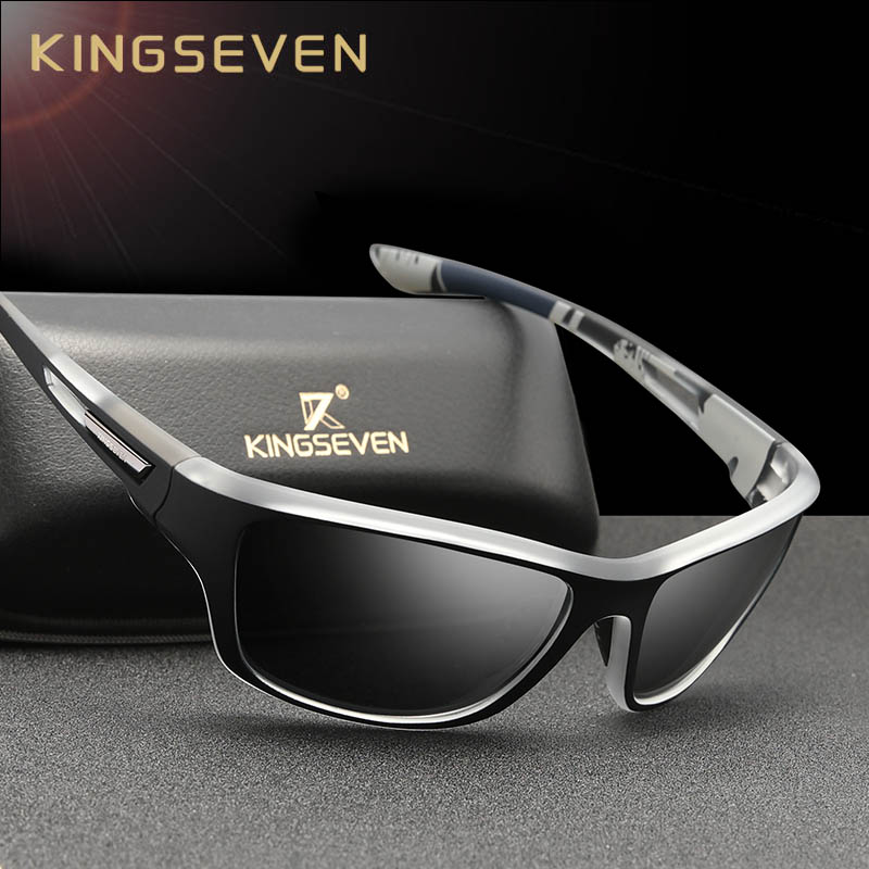 KINGSEVEN Ultralight Frame Polarized Sunglasses Men Fashion New Sports Style Square Sun Glasses Male Outdoor Travel UV Goggles 1