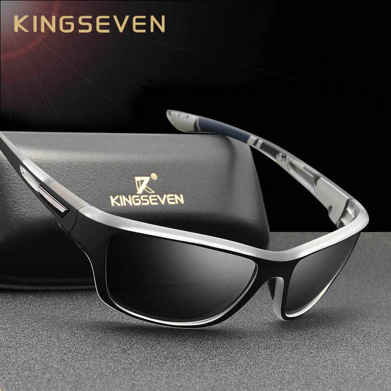 Kingseven ultraleve quadro polarizado óculos de sol dos homens moda novo estilo esportivo quadrado óculos de sol masculino viagem ao ar livre óculos uv
