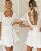 Women Summer Dress Short Sleeve Square Collar White Casual Short Dress A-Line High Waist Elegant Mini Dress Beach Plus Size 2021