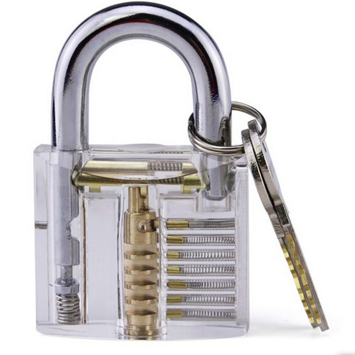 Transparent Visible Pick Cutaway Practice Padlock Lock With Broken Key Removing Hook Kit Extractor Set Locksmith Wrench Tool|Anti-theft Lock| |  - title=