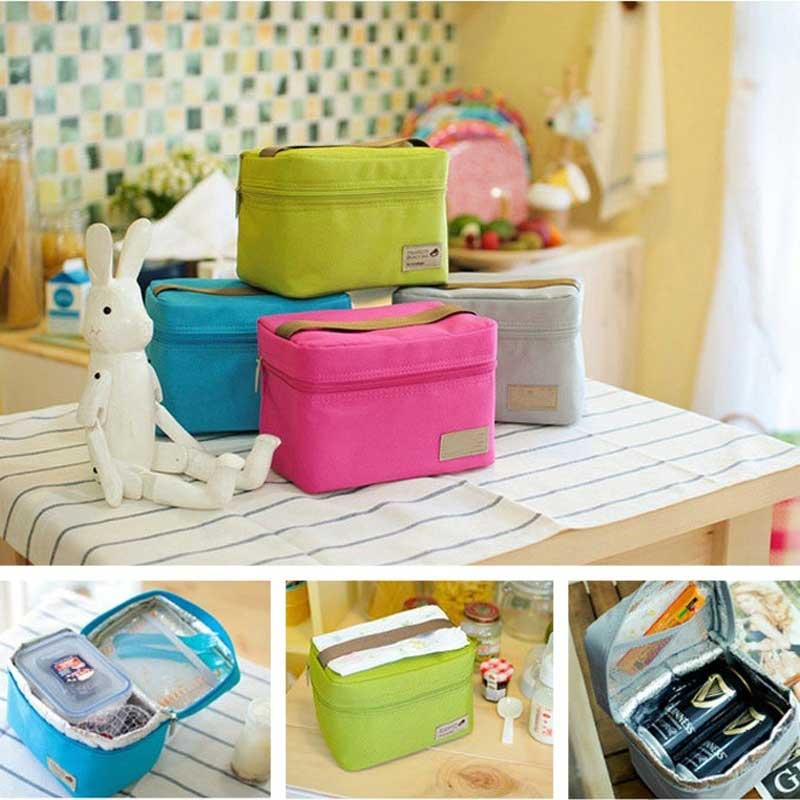 New Hot Travel Oxford Tinfoil Insulated Cooler Thermal Picnic Lunch Bag Waterproof Tote Lunch Bag For Kids Adult SMR88