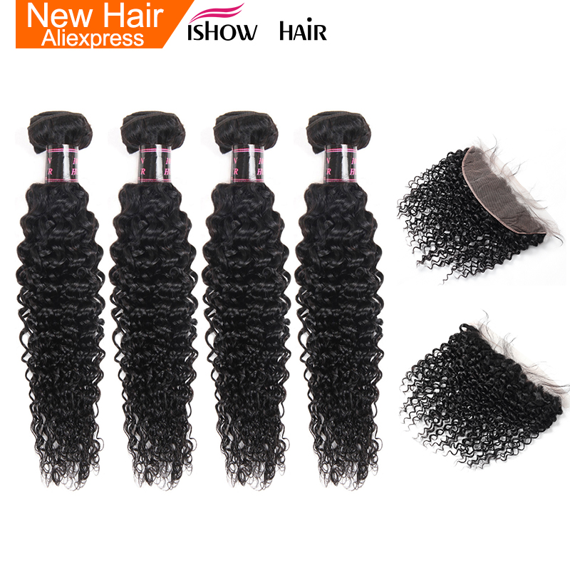 Ishow Malaysian Curly Hair With Frontal Free Part 4 Bundles Human Hair With Frontal 13X4 Ear To Ear Lace Frontal Closure No Remy