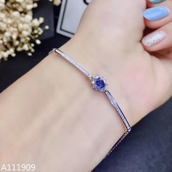 KJJEAXCMY boutique jewelry 925 sterling silver inlaid Natural sapphire female Bracelet support detection