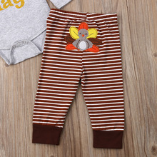 Thanksgiving set Newborn Kids Baby Boy Girl Clothes MY First Turkey Day Letter Long Sleeve Boysuit Pants Outfits Set 0-2T