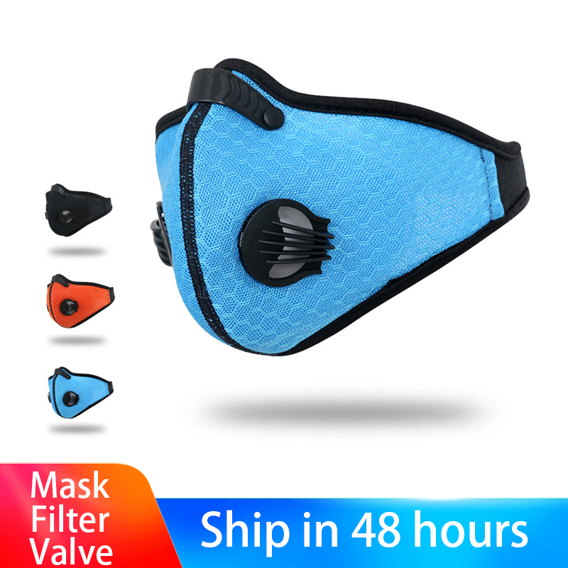 3 Colors Anti Pollution PM2.5 Mouth Mask Dust Respirator Washable Reusable Masks Cotton Unisex Muffle With 2 Filters 2 Vavles