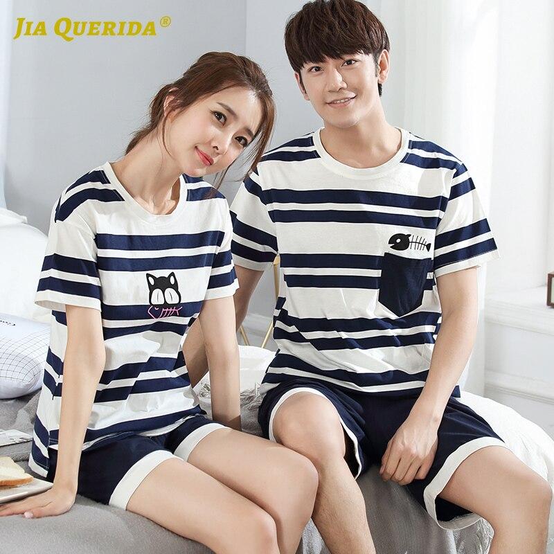 Men And Women Loungewear Crew Neck Homesuit Homeclothes Pajamas Set Smart Casual Pijama Set Short Sleeve Short Pants Stripe
