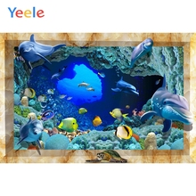 Yeele Room Wall Decor Photocall Dolphin 3D Painting Photography Backdrop Personalized Photographic Backgrounds For Photo Studio