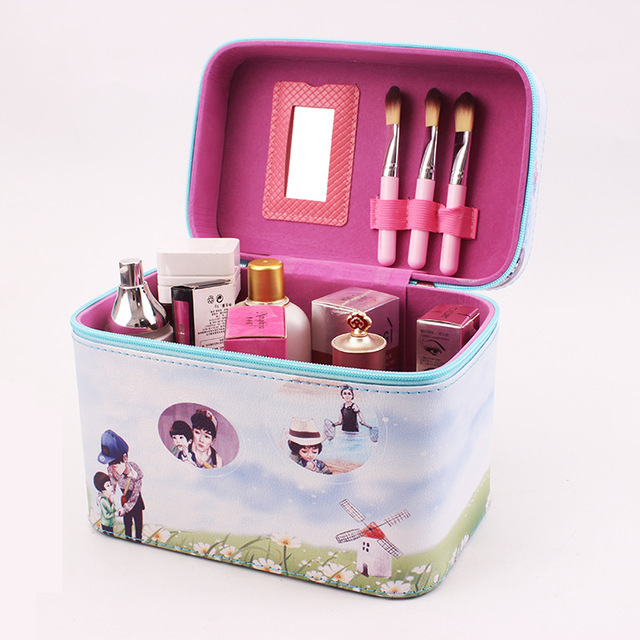 Cute Pattern Iron Tower Women Makeup Box Professional Portable Zipper Large Cosmetic Bag Much Colors 3