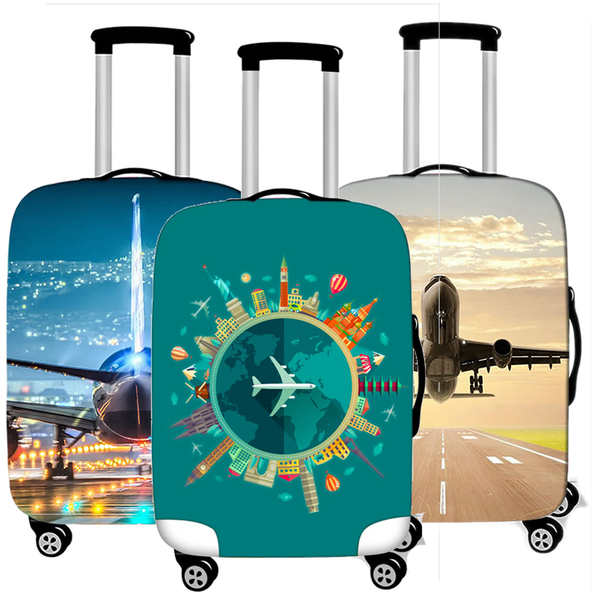 Creative Airplane Luggage Cover Case Protective Travel Accessories Waterproof Thicken Elastic Suitcase Trunk Case 18-32 Inch XL