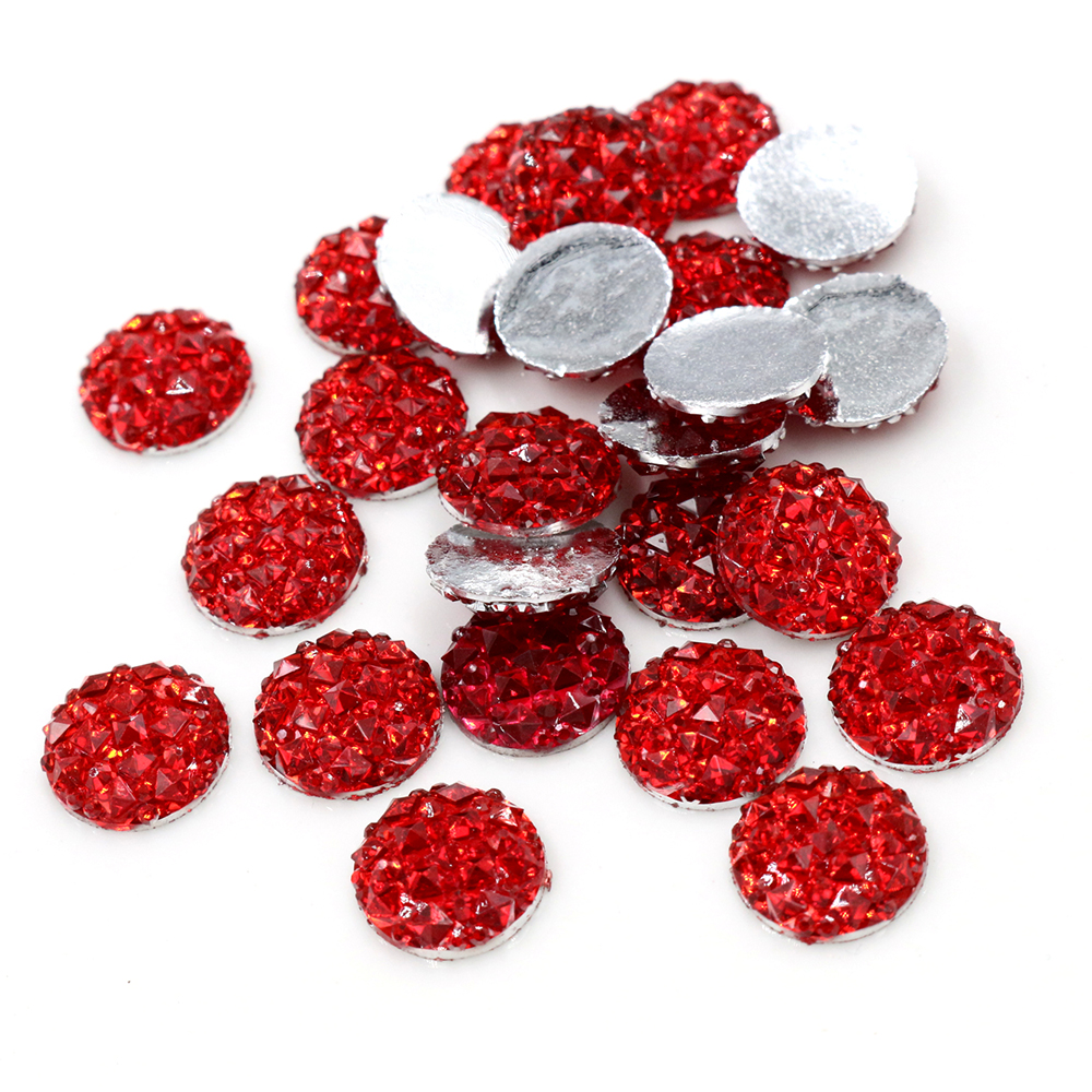 New Fashion 40pcs 12mm Red Color Flat Back Resin Cabochons Cameo  G5-04