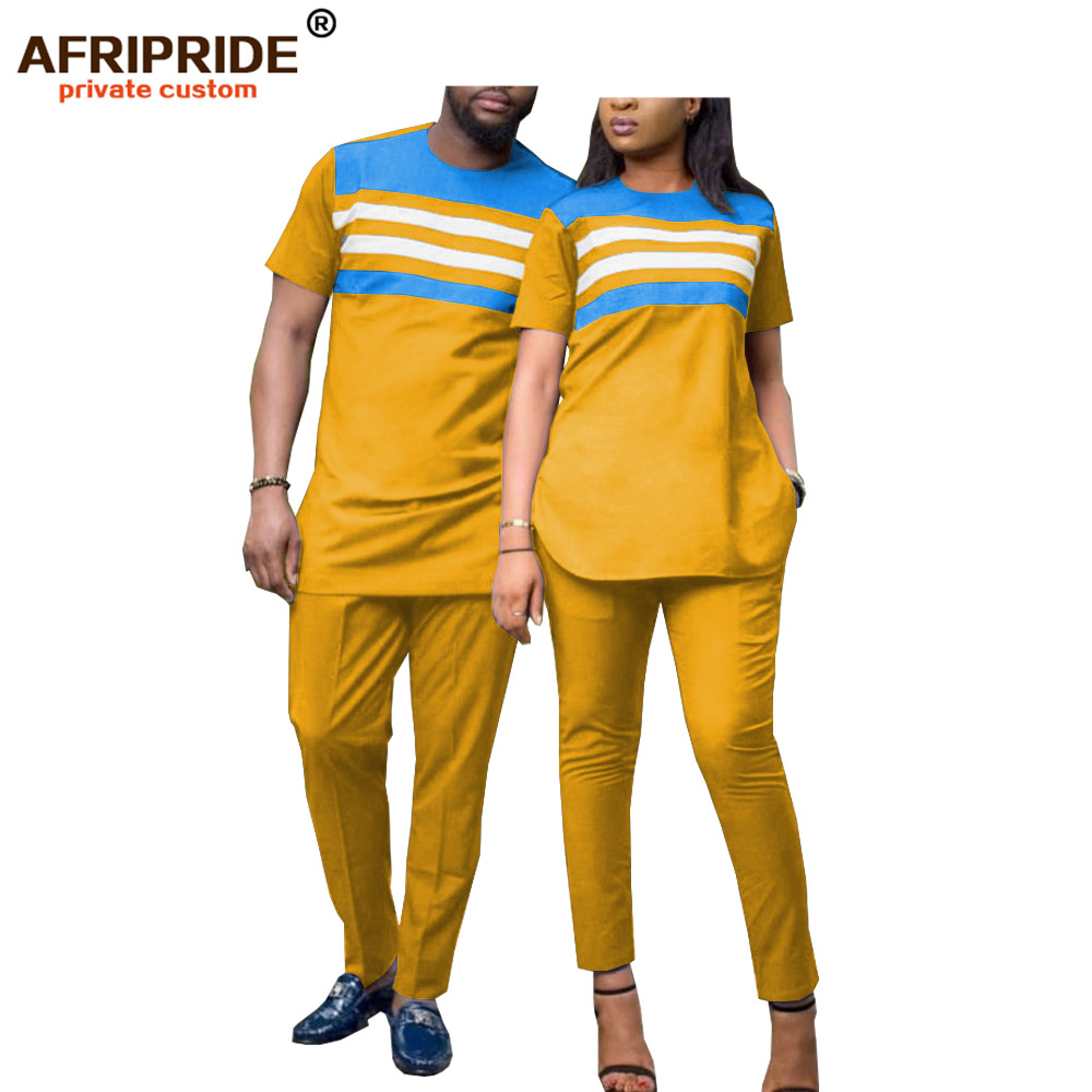 2019 African 2 Pieces Sets For Men And Women Couples Clothing Dashiki Tops Shirts Print Pants Short Sleeve AFRIPRIDEA19C001
