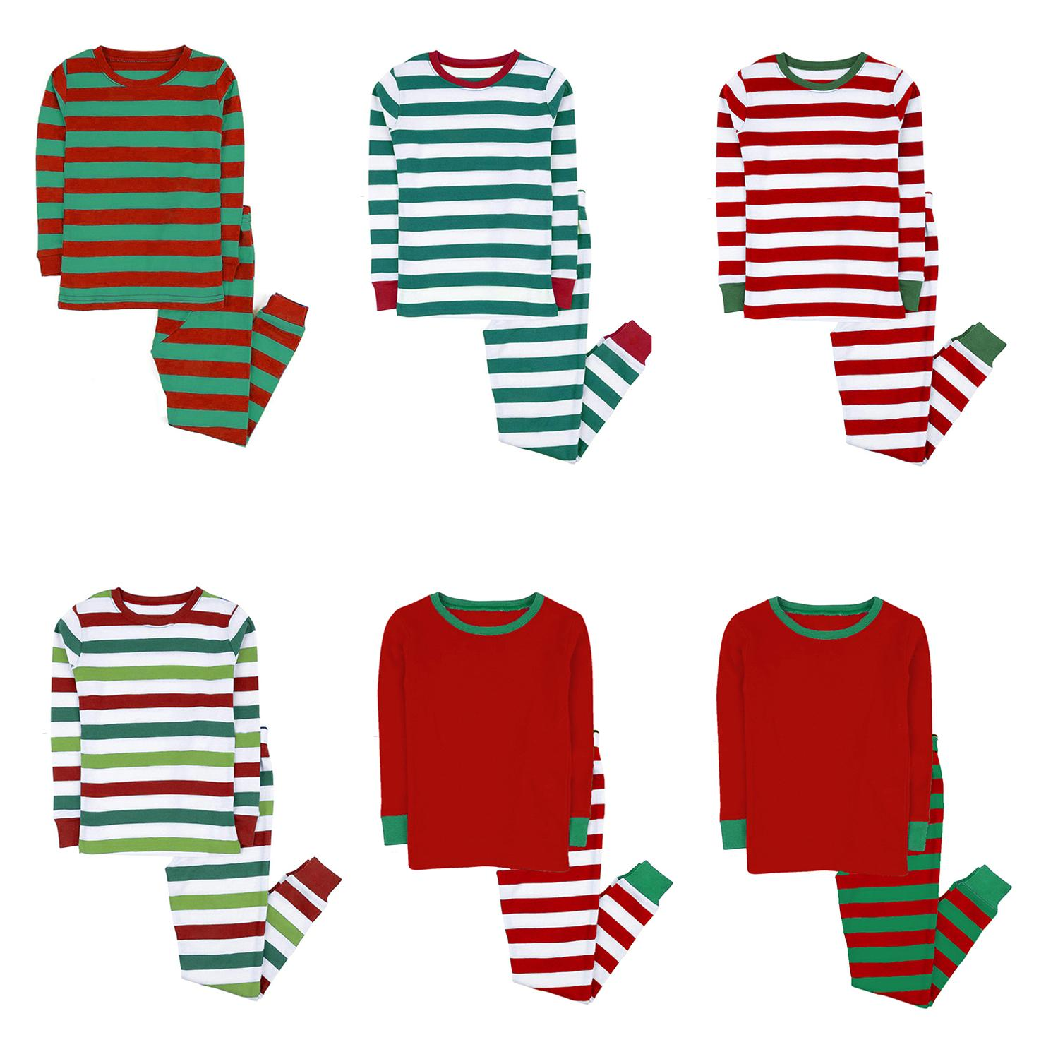 100% cotton boys and girls Christmas stripe pajamas kids sleepwear children pyjamas clothes