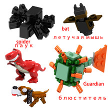 Legoing Minecrafted Set My World Spider Bat Dinosauri Guardiano Steve Figure Cane Blocchi Legoing Animali Minecrafted Giocattoli Dei Mattoni(China)