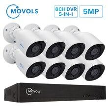 Movols Hd 5MP H.265 Bewakingscamera Outdoor Indoor 8 Stuks Cctv Camera Nachtzicht Video Surveillance Systeem 8CH Dvr set