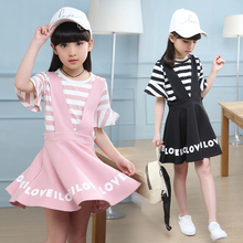 2019 Casual girls kids Sets Shirt+ suspender Dress 2pcs set Clothing Kids overalls Set For 3 4 5 7 10 Years clothes FTTX68