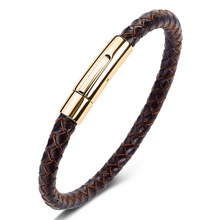 TANGYIN New Classic Style Men Leather Bracelet Simple Gold Stainless Steel Button Accessories Hand-woven Bracelets Jewelry Gifts