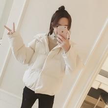Short-Coat Parkas Down-Jacket Korean Winter Hooded Black White Fashion Women Cotton New