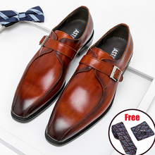 Monk Shoes Pointed-Toe Phenkang Genuine-Leather Dress Brogues Italian Oxford Wedding