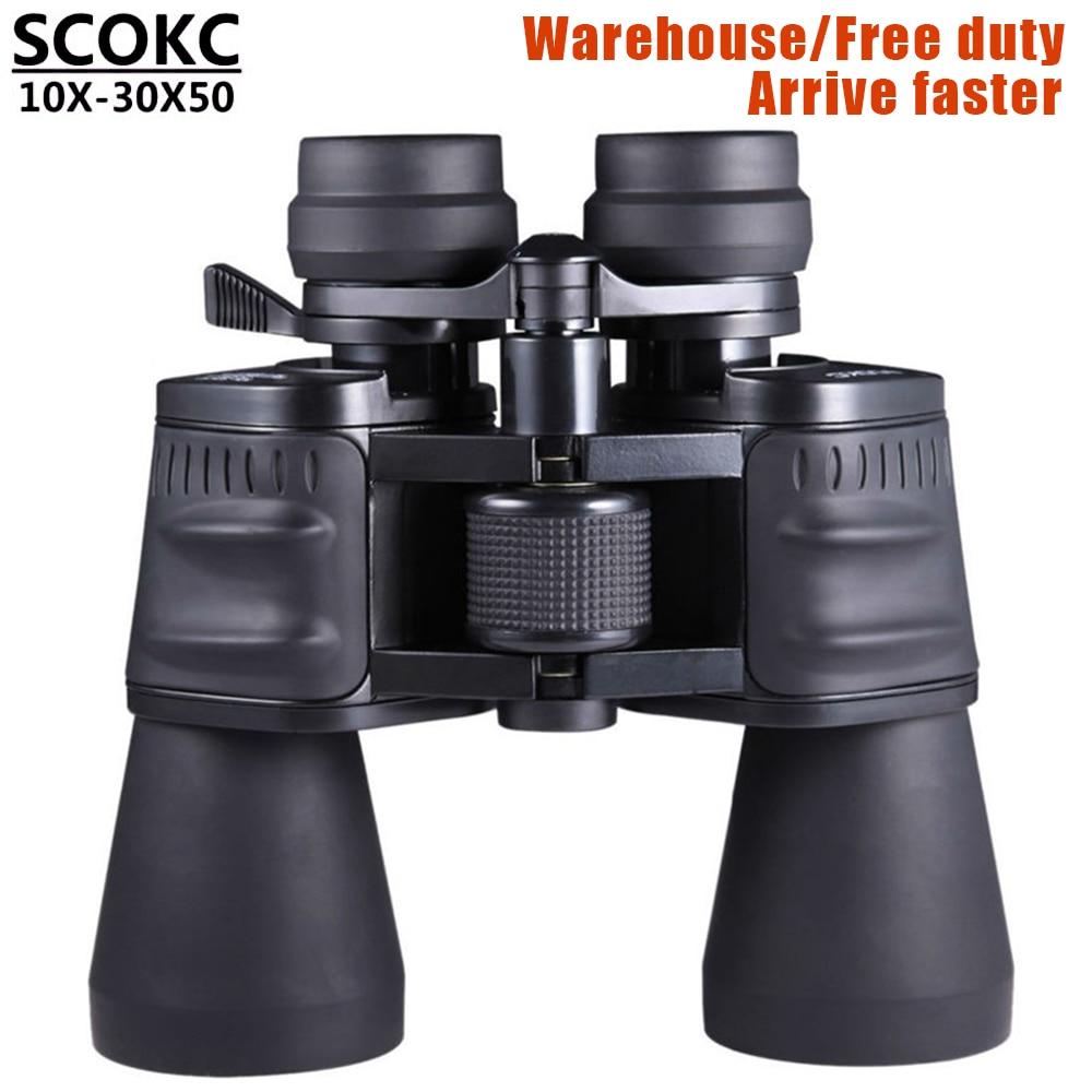 SCOKC10-30X50 power zoom Binóculos de vidro profissional binóculos telescópio monocular telescópio para a caça de alta qualidade