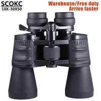 SCOKC10-30X50 puissance zoom verre Jumelles télescope professionnel pour la chasse haute qualité monoculaire télescope jumelles