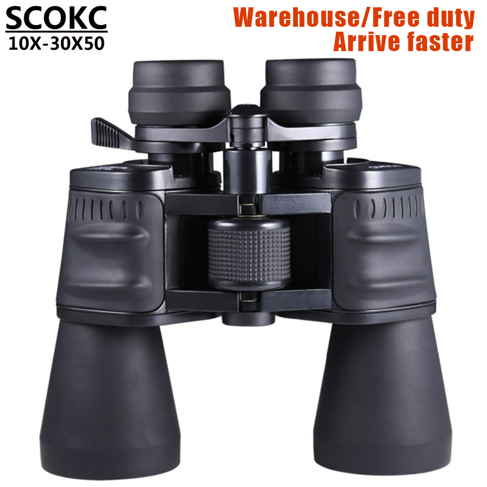 SCOKC10-30X50 power zoom binóculos de vidro telescópio profissional para a caça alta qualidade telescópio monocular binóculos