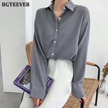 BGTEEVER Casual Loose Blouse for Women Lapel Full Sleeve Female Shirts Tops Sing