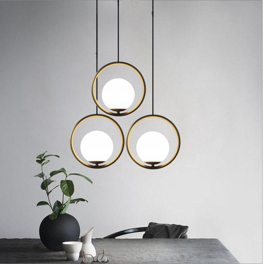 Işıklar ve Aydınlatma'ten Kolye ışıkları'de Iskandinav endüstriyel LED kolye ışıkları yemek odası oturma odası Cafe yatak odası Bar amerikan çember cam küre kolye lambaları armatür