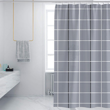 High Quality Lattice Printing Shower Curtains Waterproof Polyester Bathroom With 12 Hooks For Decor