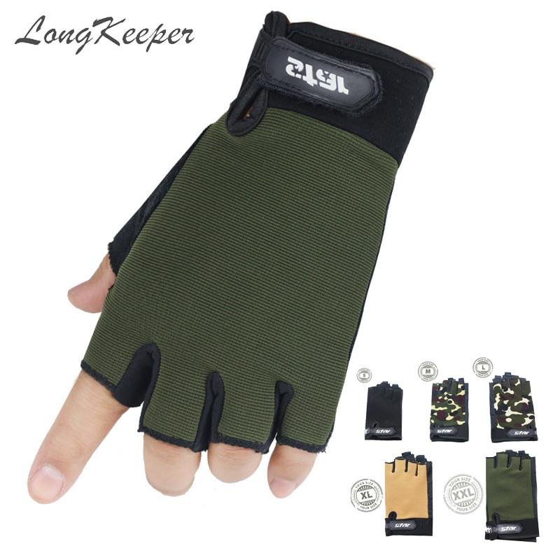 S/M/L/<font><b>XL</b></font>/XXL Half Finger <font><b>Gloves</b></font> Kids Non-slip Mittens Men Women Fingerless Camo Guantes Sport Fitness <font><b>Gym</b></font> Parent-child Luvas image