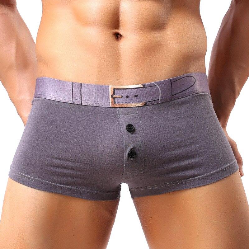Fashion Men's Underwear Cotton Breathable Boxer Trunks Sexy Mens Underpants Gay Cueca Boxer Shorts Belt Buttons Men Panties