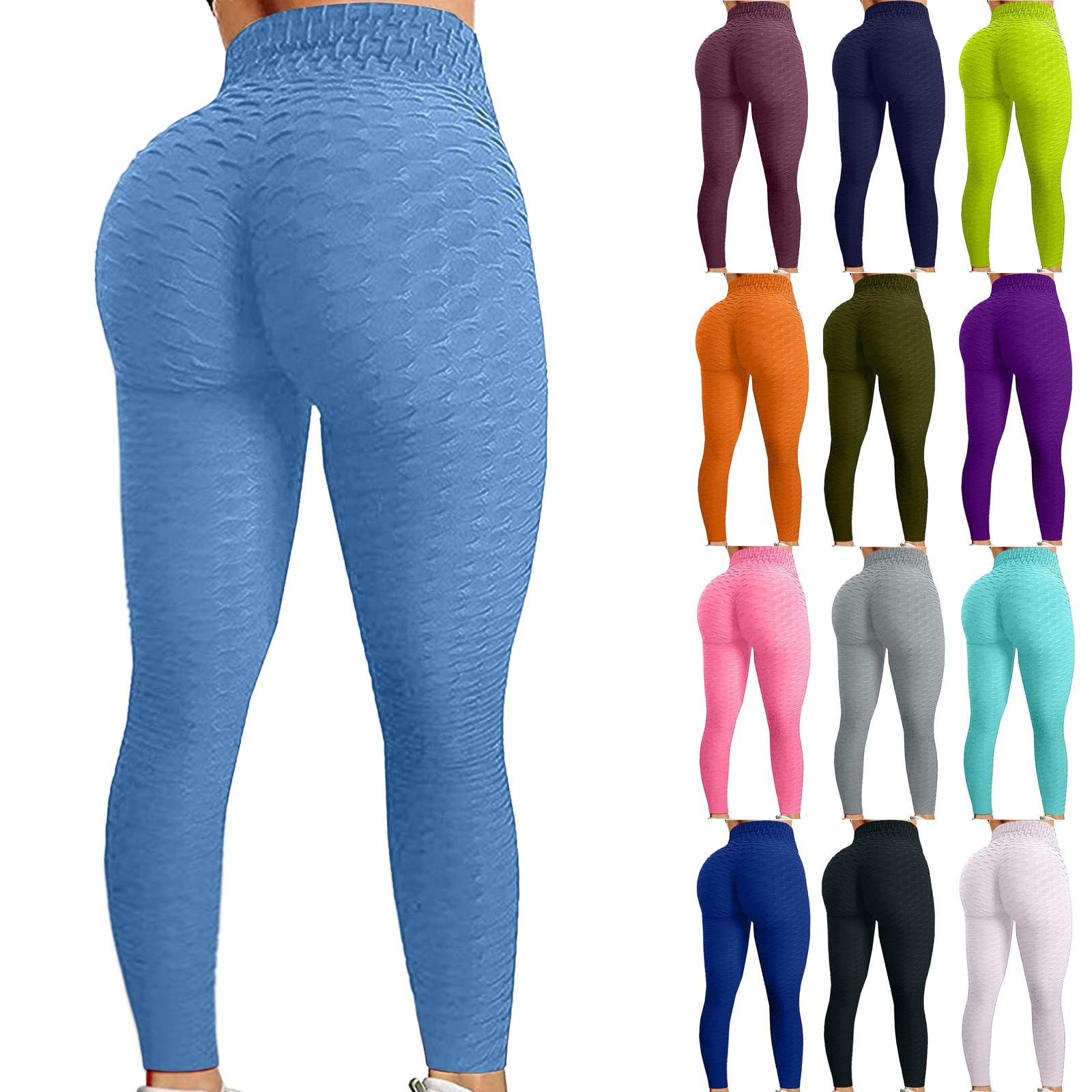Однотонные леггинсы спортивные штаны Для женщин узкие штаны для фитнеса с высокой талией спортивной тренировки брюки для занятий спортом, ...