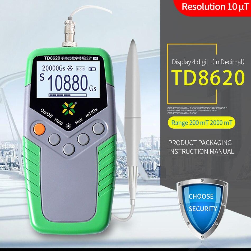 Tools : TD8620 Permanent Magnet Gauss Meter Handheld Digital Tesla Meter Magnetic Flux Meter Surface Magnetic Field Test 5percent Accuracy
