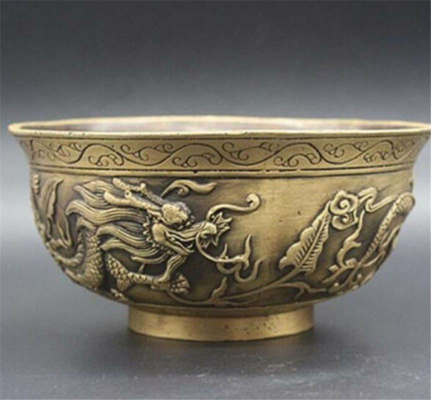 Chinese Collection old hand Asian Brass Zodiac dragon Exquisite piece statue