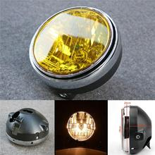 7 Inch 35W Universal Motorcycle Headlight Yellow Crystal Glass Clear Lens Beam Round LED HeadLamp For Honda CB Series