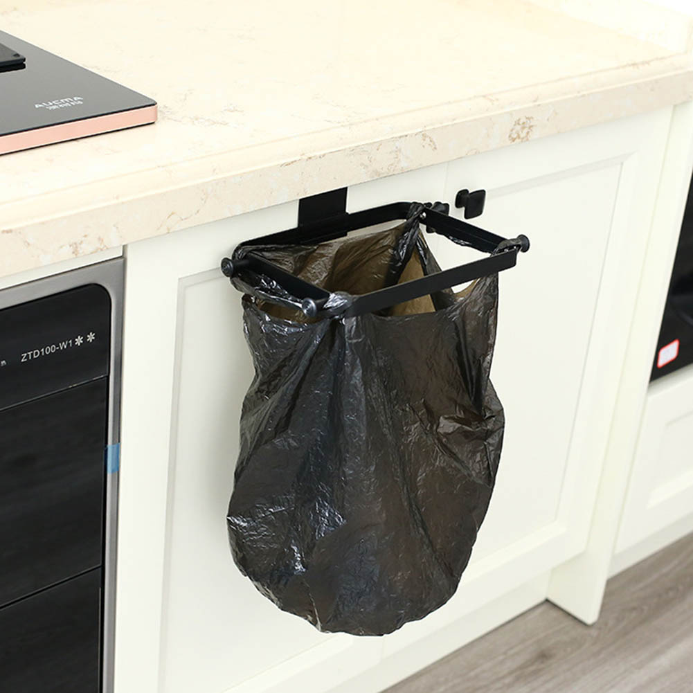 Garbage Bag Hanging Holder Cupboard Door Back Trash Rack Bathroom Kitchen Cabinets Storage Towel Shelf Holders Storage