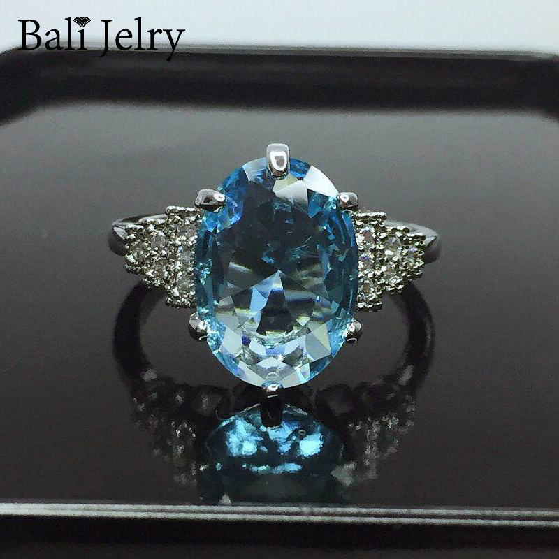 Bali Jelry Elegant Silver 925 Ring Jewelry Oval Shape Sapphire Zircon Gemstone Rings Accessories for Women Wedding Drop shipping