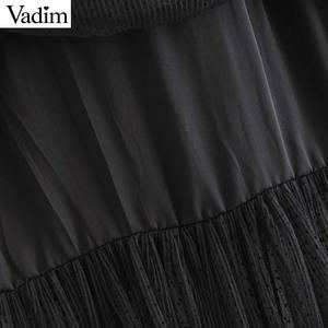 Image 3 - Vadim 여성 세련된 블랙 메쉬 스커트 다층 프릴 탄성 허리 여성 중반 송아지 캐주얼 세련된 스커트 ba800