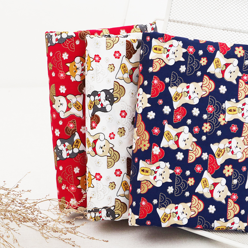 Japanese Style Shiba Cloth Bronzing Printed Cotton Fabric For Sewing Kimono, Retro Style Fabric Making Dolls & Bags Material