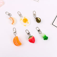 Creative Emulational Fruit Keychain Pendant Cool Food Egg School Bag Hanging Decoration Key Ring Small Gifts(China)