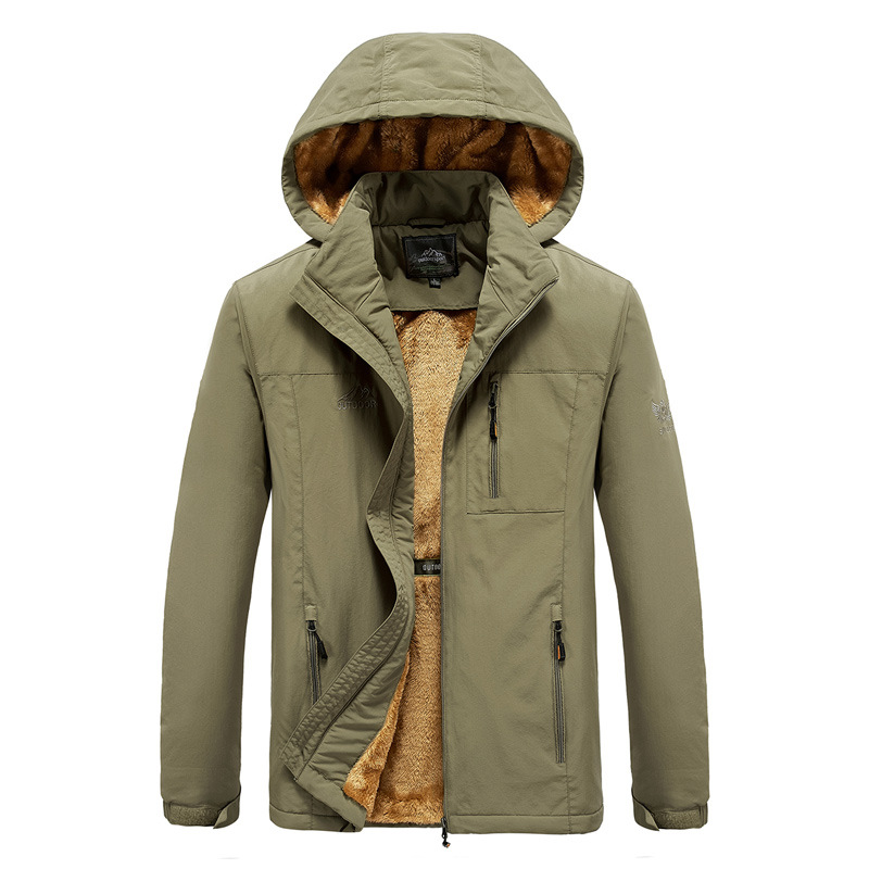 AliExpress Foreign Trade Raincoat Jacket Autumn And Winter Brushed Outdoor Sports   Trench   Coat Men's Hooded Fishing Coat Wholesal