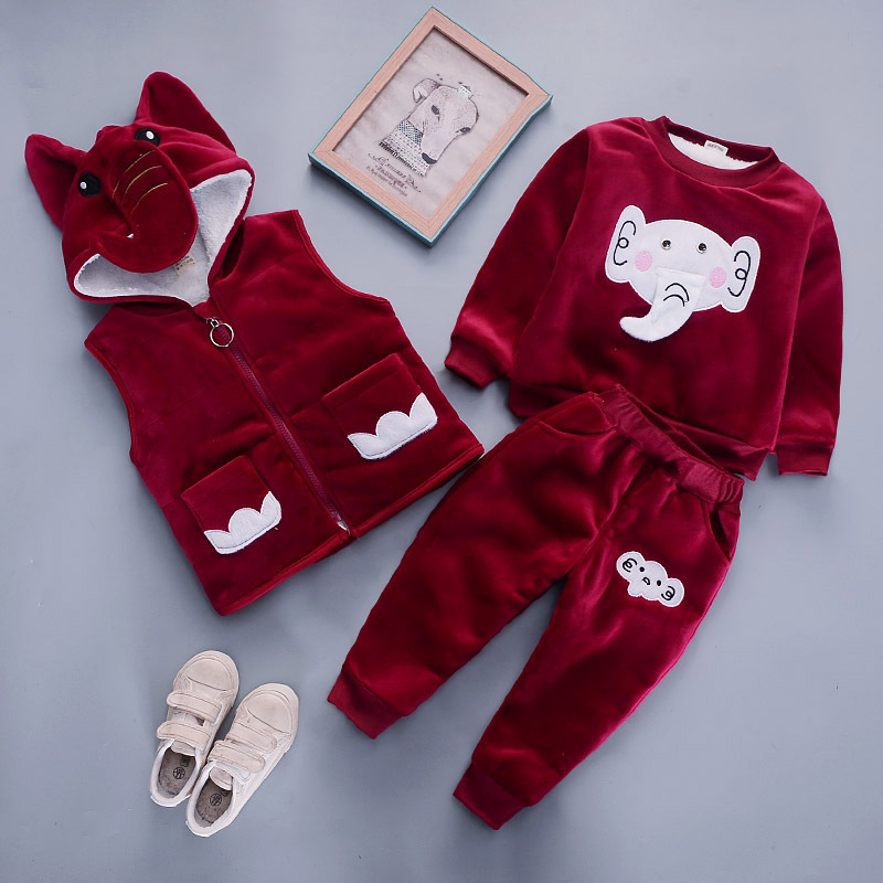 Baby girl clothes gold velvet warm suit cartoon elephant plus velvet thick casual hooded sweater vest baby boy three-piece suit