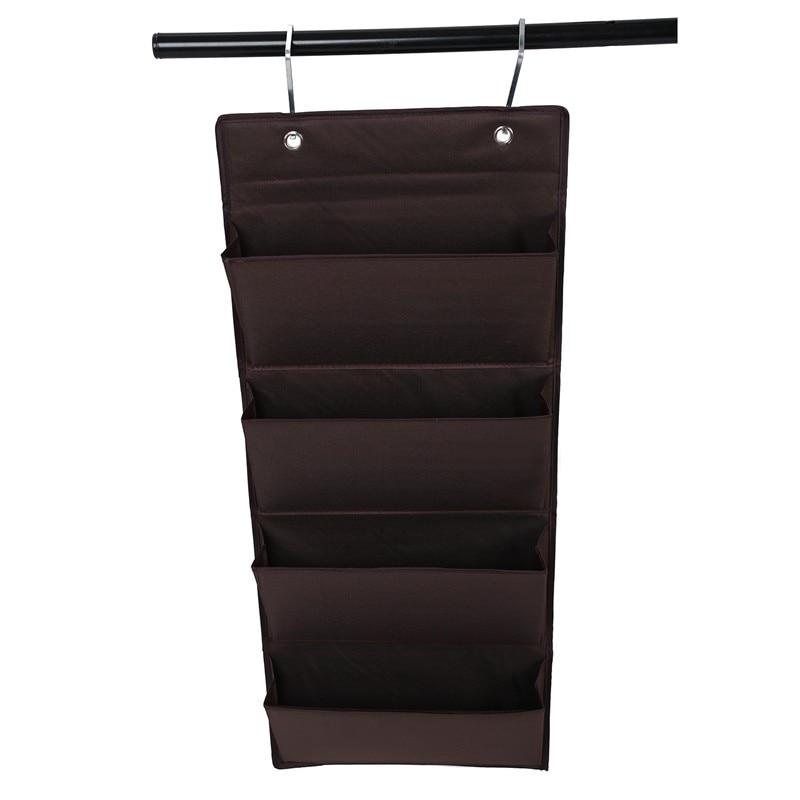 4 Tier Wall Door Hanging Organiser Storage Rack Bag Cloth Wardobe Shoe Pocket Brown