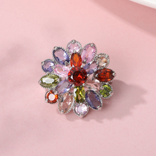 Cute Sparkly Colorful Crystal  Rhinestone Petals Flower Woman Brooch Stylish Elegant Dress Accessories Enamel Pins
