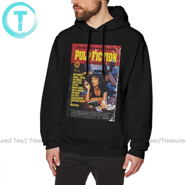 Pulp Fiction Hoodie Pulp Fiction Hoodies Outdoor Winter Pullover Hoodie Men Fashion Cotton Long Blue XXL Hoodies