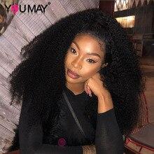 250 gęstość 13X6 Afro perwersyjne kręcone ludzki włos koronki przodu peruki naturalne perwersyjne kręcone 360 peruki typu Lace Front dla kobiet, może Remy